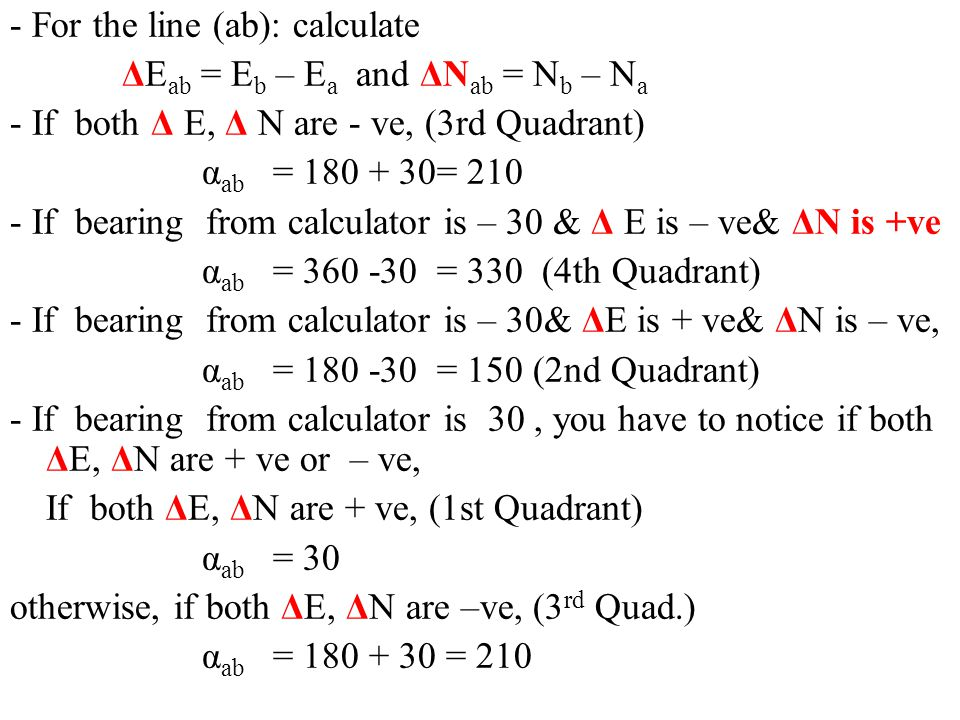 - For the line (ab): calculate