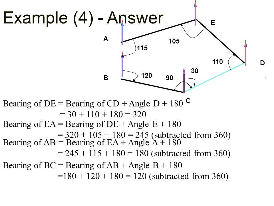 Example (4) - Answer 120. E. C. B. A. 115. 90. 110. 105. 30. D. CHECK : Bearing of CD = Bearing of BC + Angle C + 180.