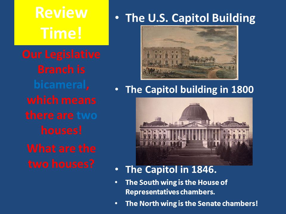 Our Legislative Branch is bicameral, which means there are two houses!