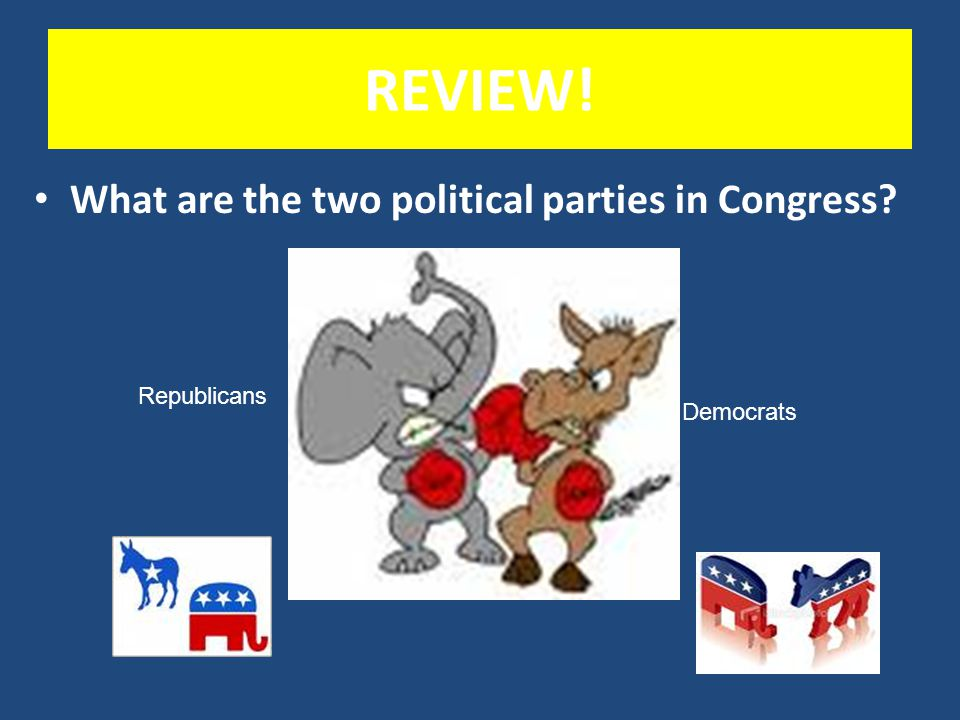 REVIEW! What are the two political parties in Congress Republicans