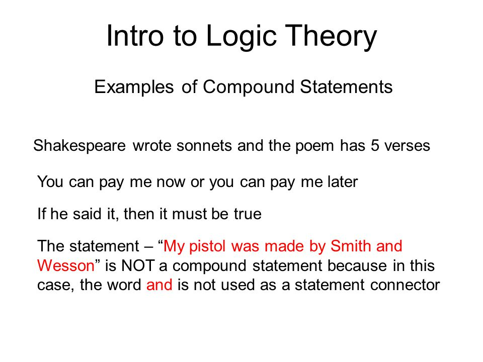 Examples of Compound Statements