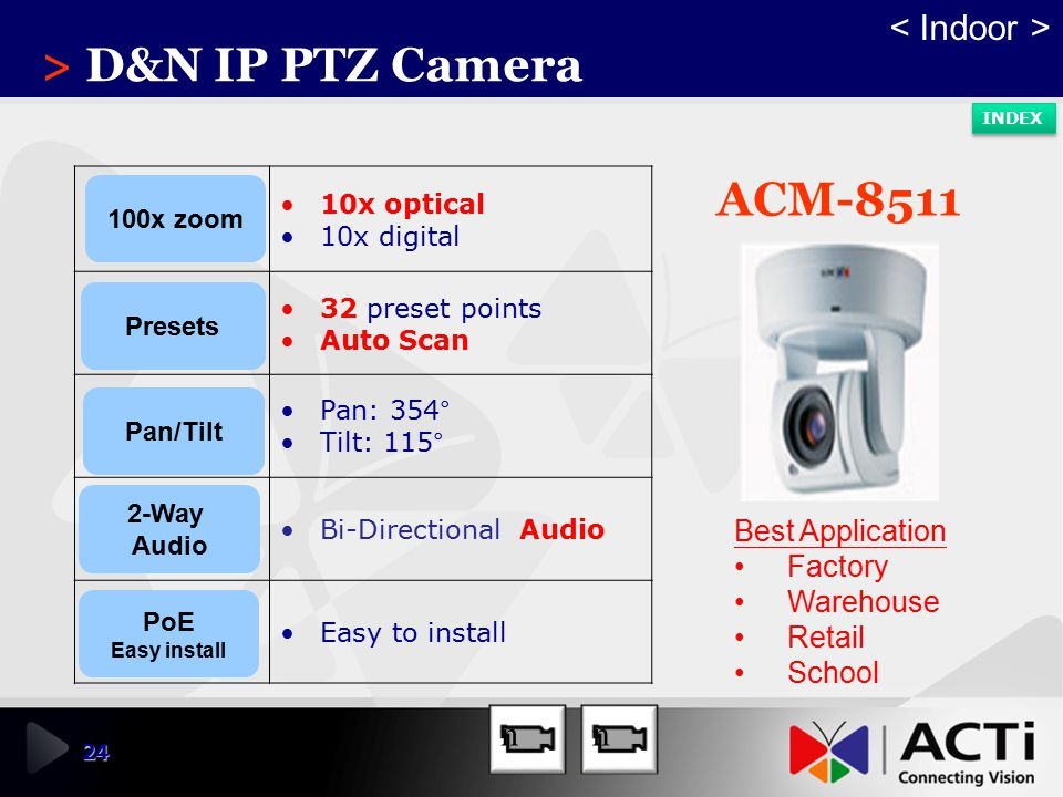 > D&N IP PTZ Camera ACM-8511 < Indoor > n n Best Application