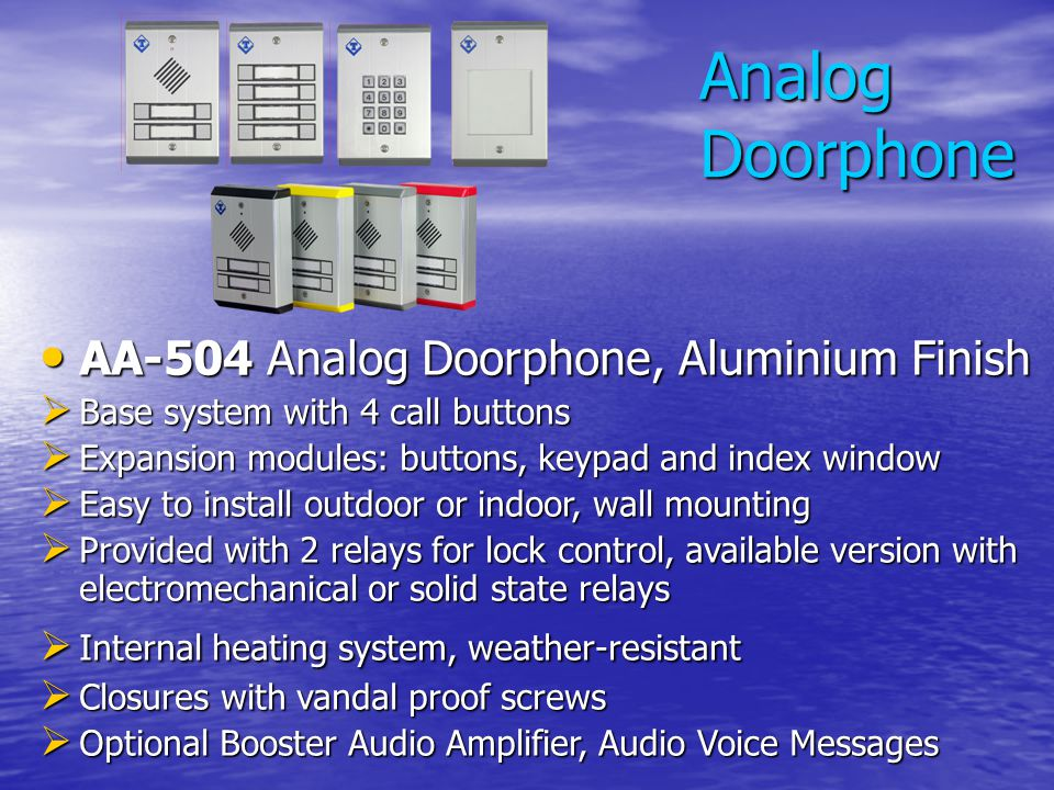 Analog Doorphone AA-504 Analog Doorphone, Aluminium Finish