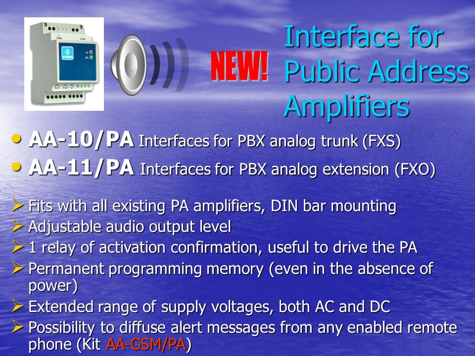 Interface for Public Address Amplifiers