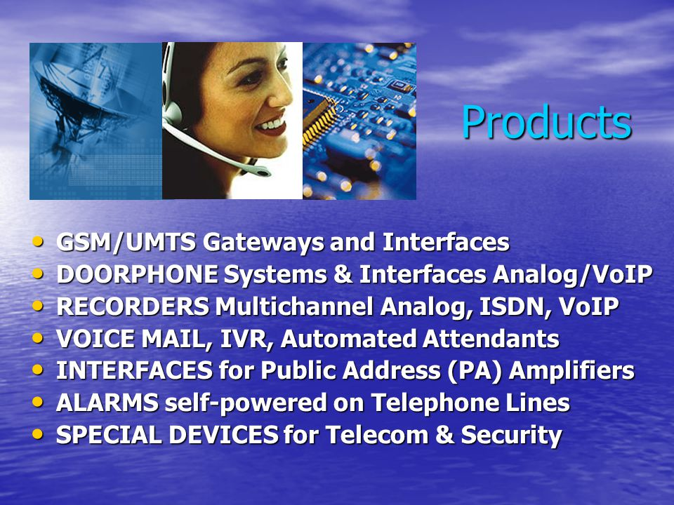 Products GSM/UMTS Gateways and Interfaces