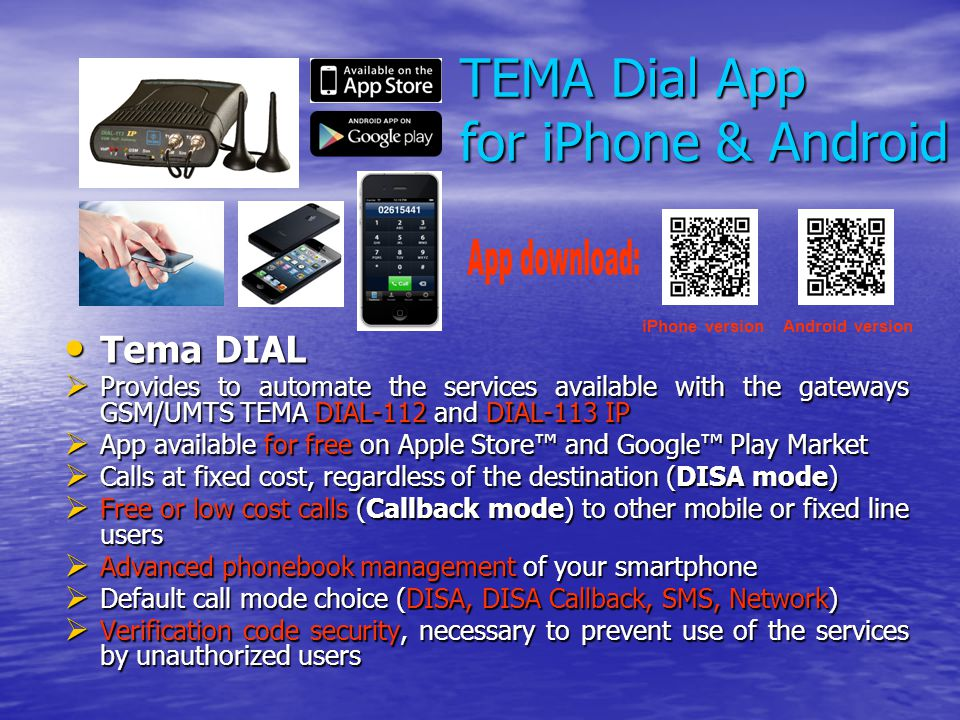 TEMA Dial App for iPhone & Android