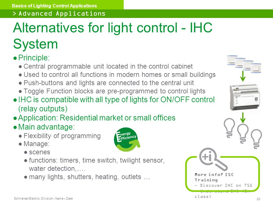Alternatives for light control - IHC System
