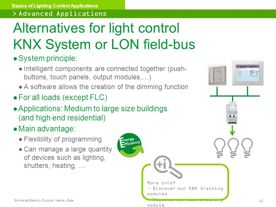 Alternatives for light control KNX System or LON field-bus