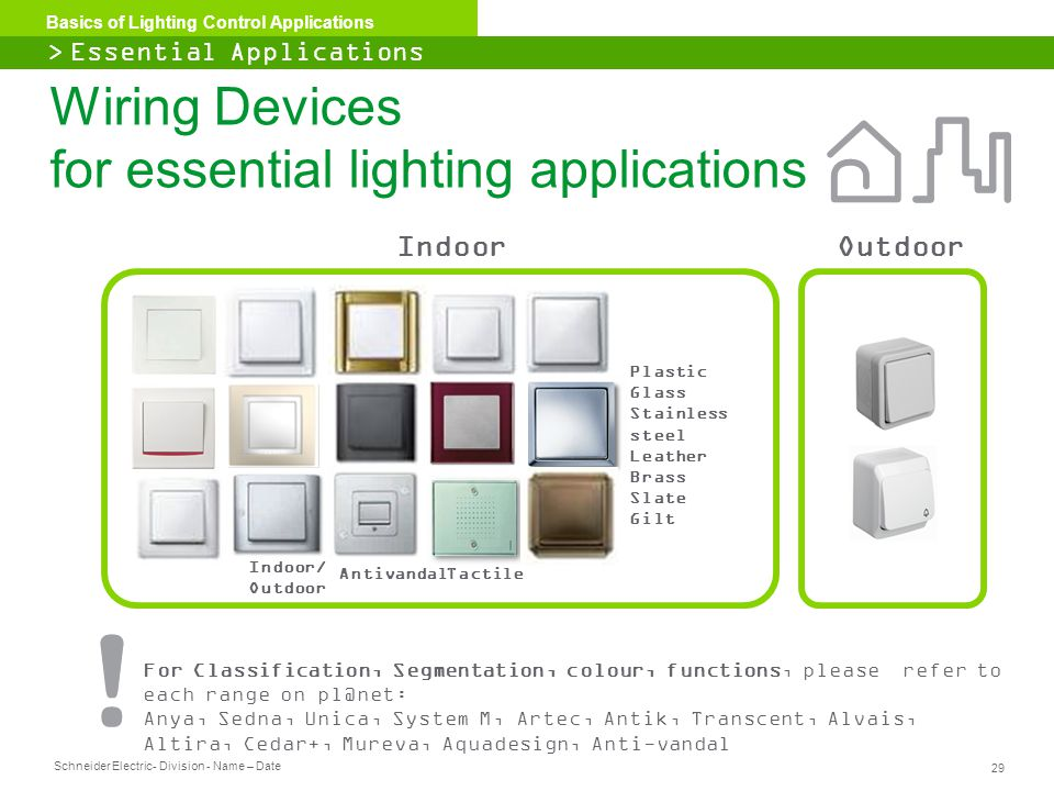 Wiring Devices for essential lighting applications
