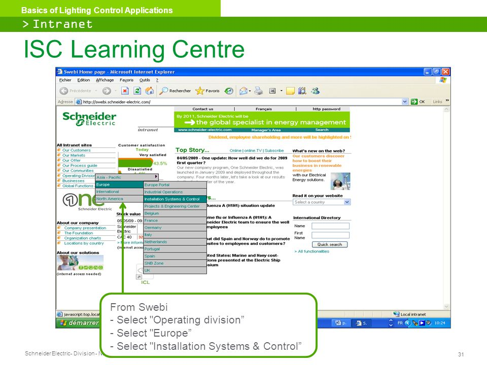 ISC Learning Centre > Intranet From Swebi