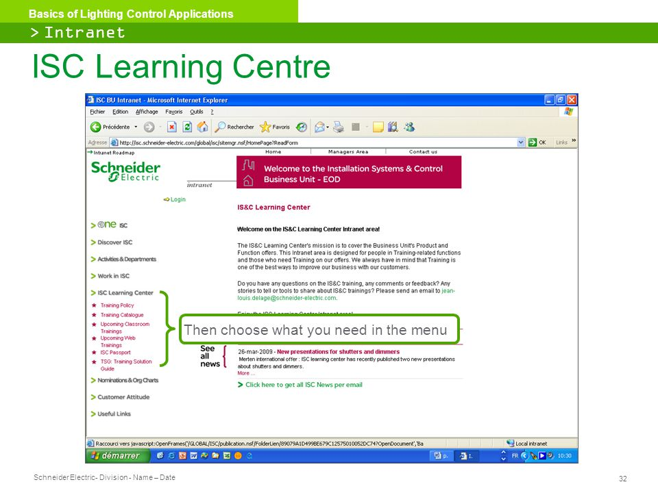 ISC Learning Centre > Intranet