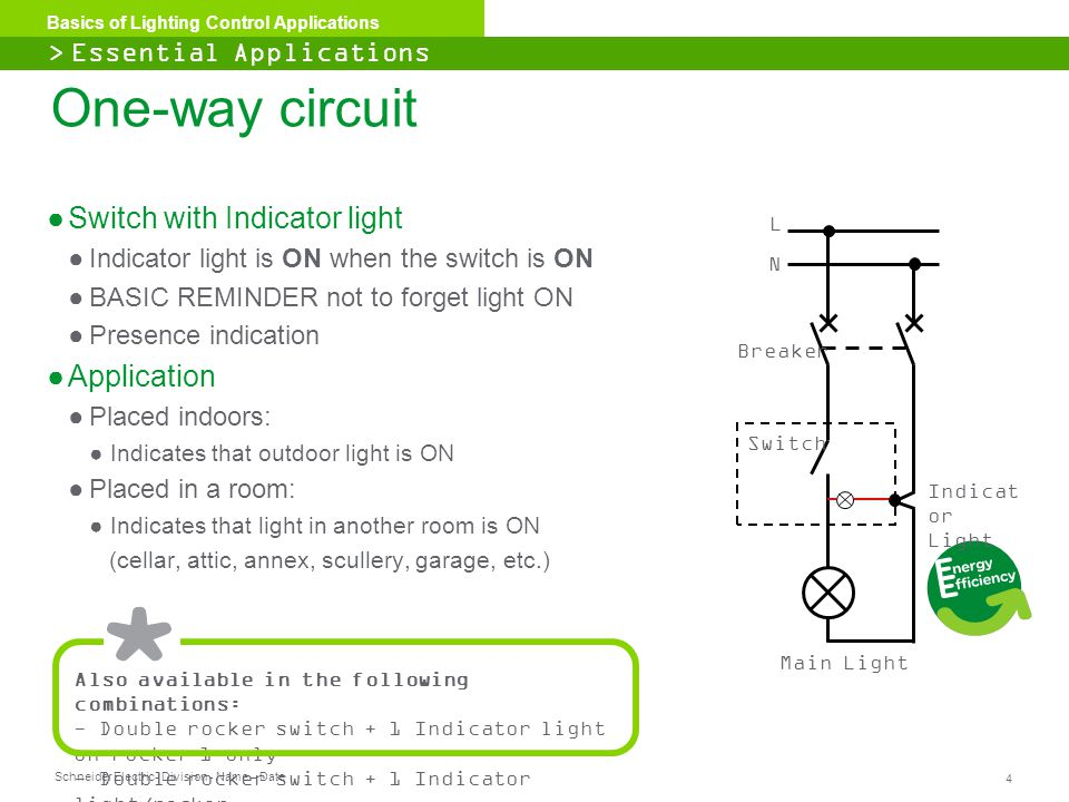 One-way circuit Switch with Indicator light Application
