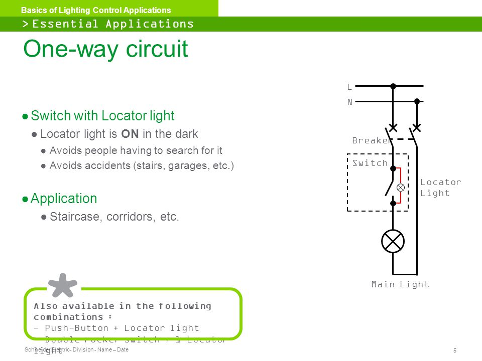 One-way circuit Switch with Locator light Application