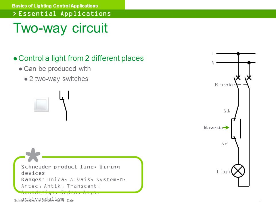 Two-way circuit Control a light from 2 different places