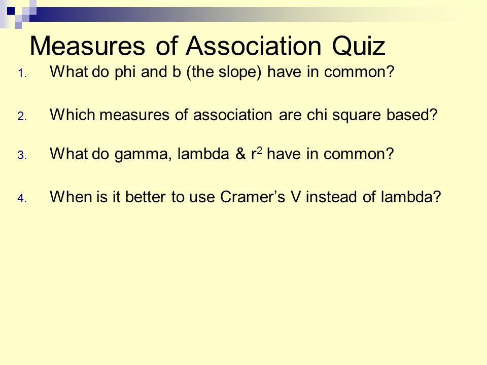 Measures of Association Quiz