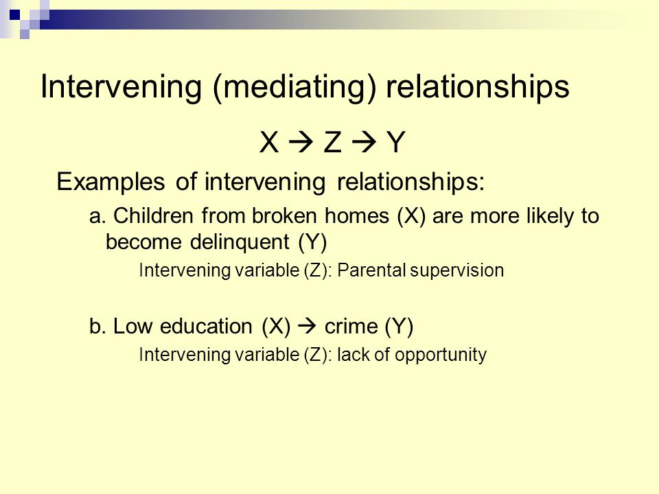Intervening (mediating) relationships