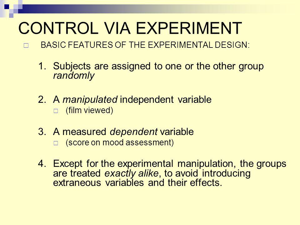 CONTROL VIA EXPERIMENT