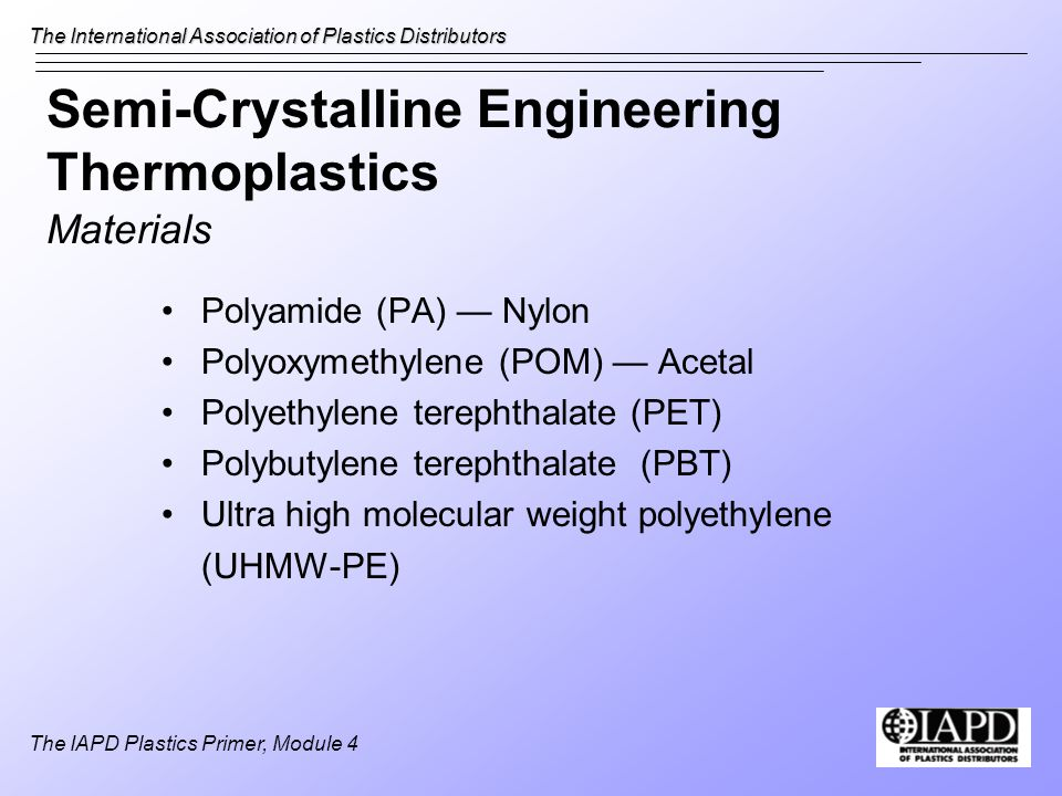 Semi-Crystalline Engineering Thermoplastics Materials