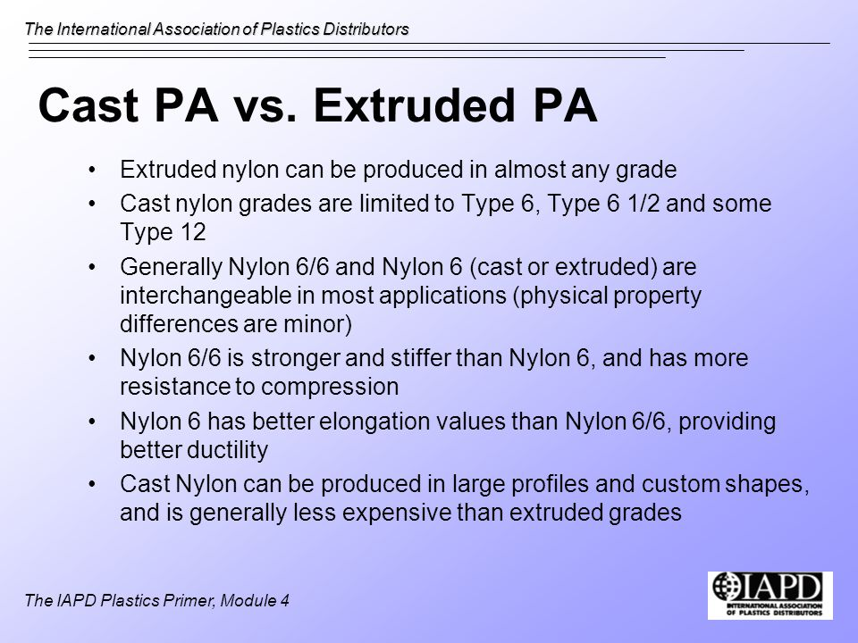Cast PA vs. Extruded PA Extruded nylon can be produced in almost any grade. Cast nylon grades are limited to Type 6, Type 6 1/2 and some Type 12.