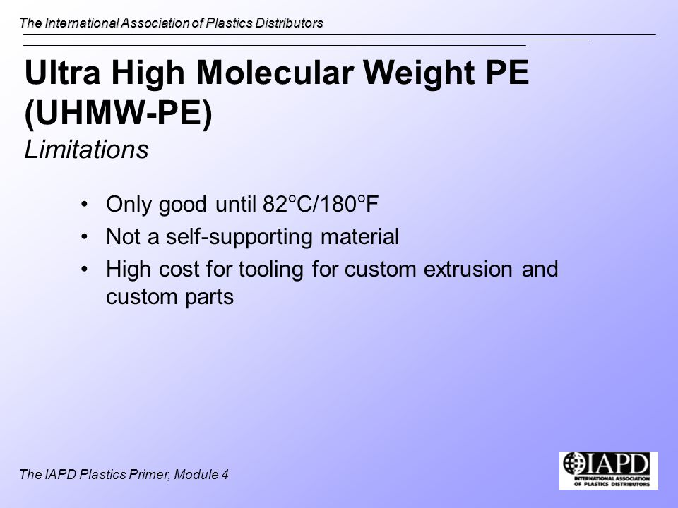 Ultra High Molecular Weight PE (UHMW-PE) Limitations