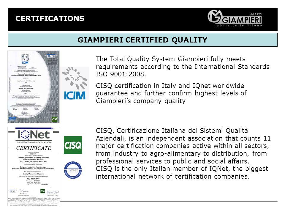 GIAMPIERI CERTIFIED QUALITY
