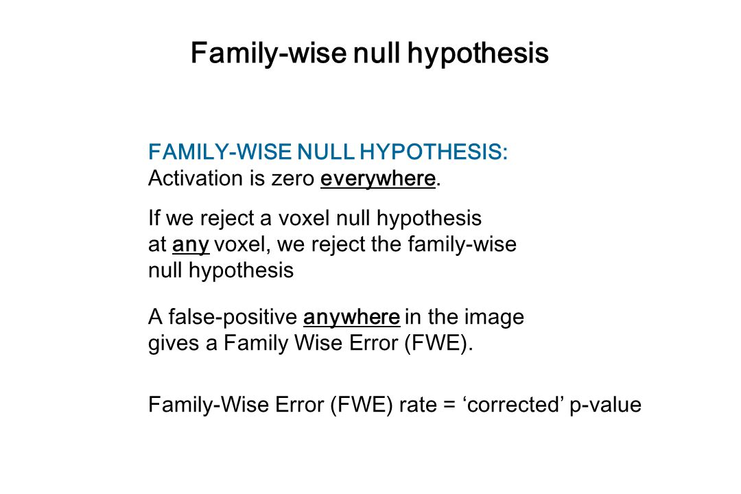 Family-wise null hypothesis