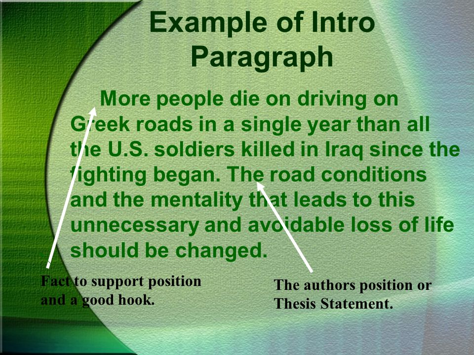 Example of Intro Paragraph
