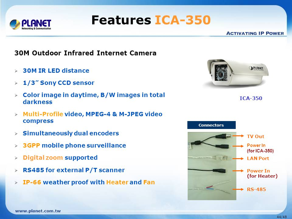 Features ICA-350 ICA-350 30M Outdoor Infrared Internet Camera