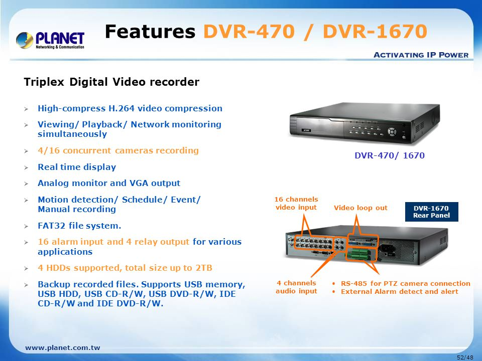 Features DVR-470 / DVR-1670 DVR-470/ 1670