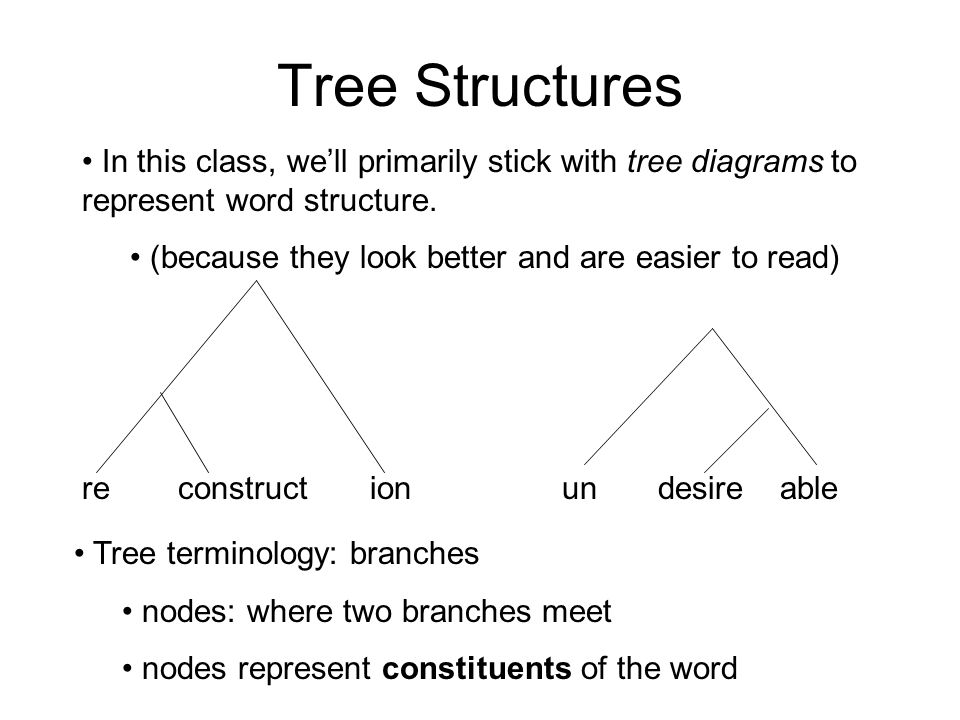 Tree Structures In this class, we'll primarily stick with tree diagrams to represent word structure.
