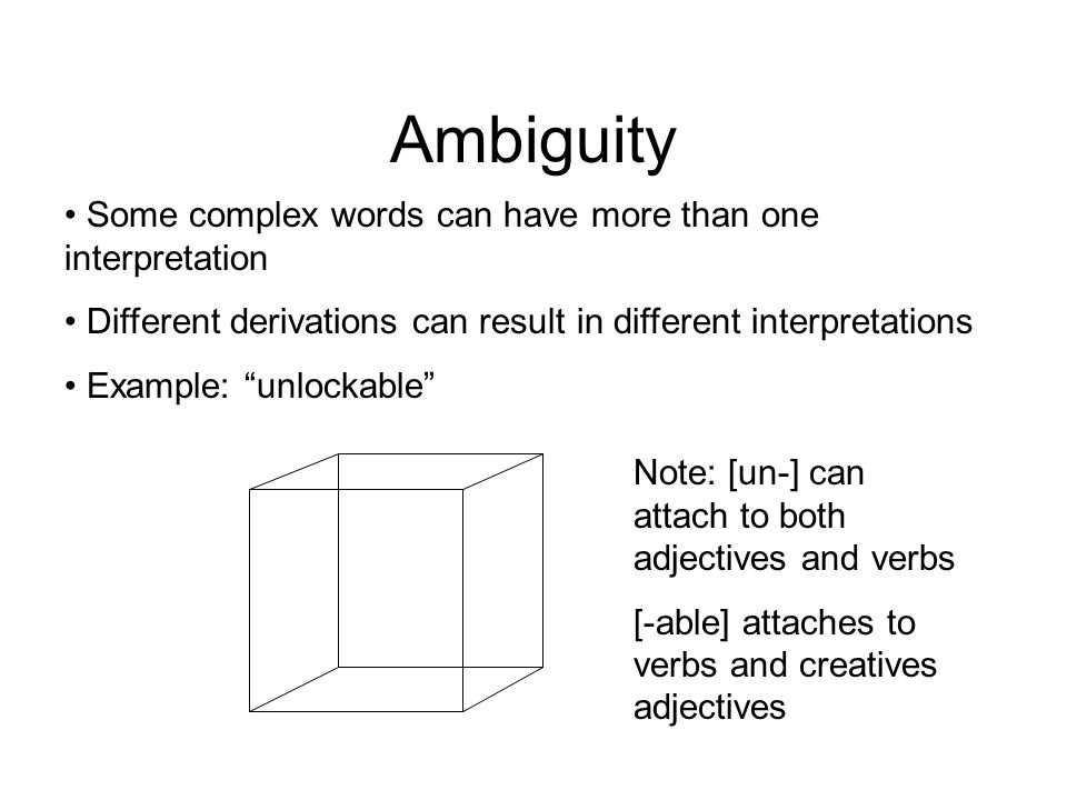 Ambiguity Some complex words can have more than one interpretation