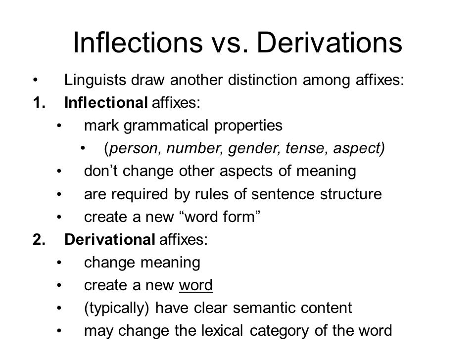 Inflections vs. Derivations