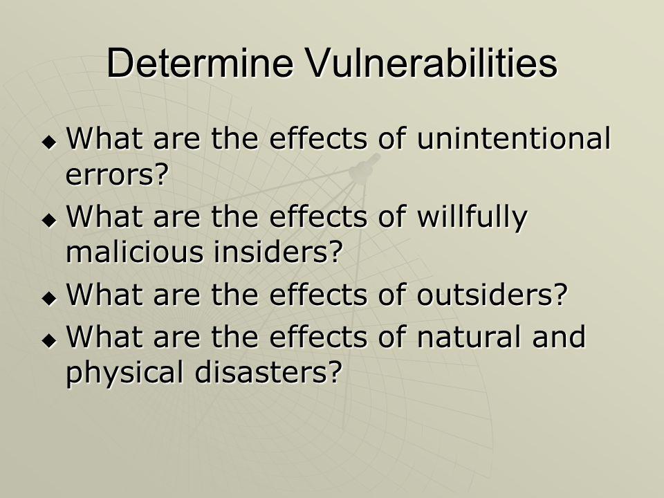 Determine Vulnerabilities