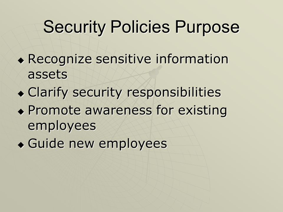 Security Policies Purpose