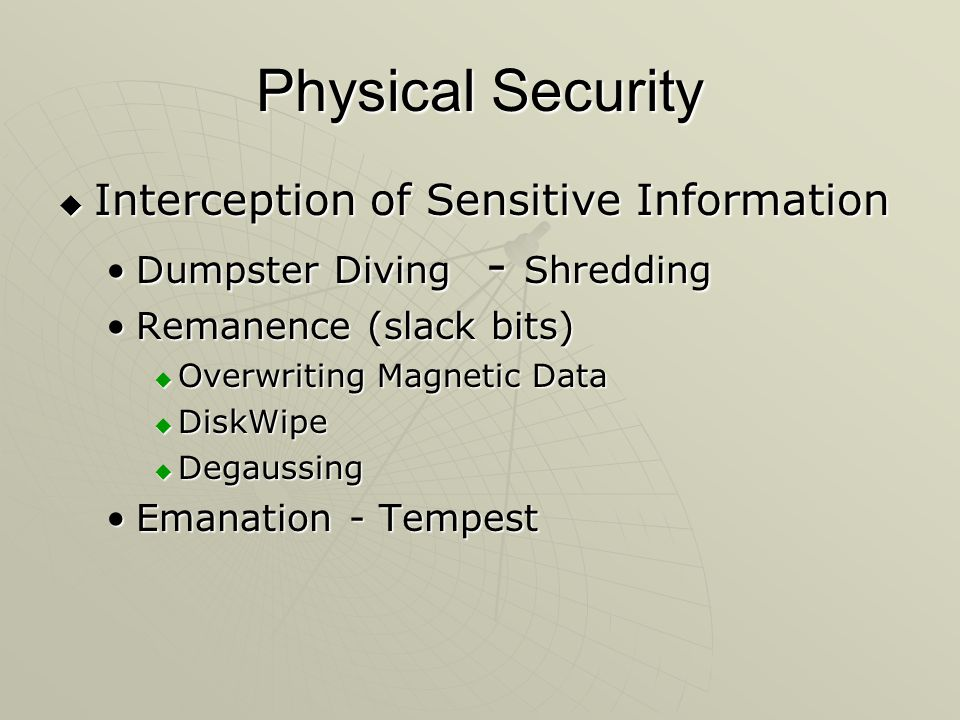 Physical Security Interception of Sensitive Information