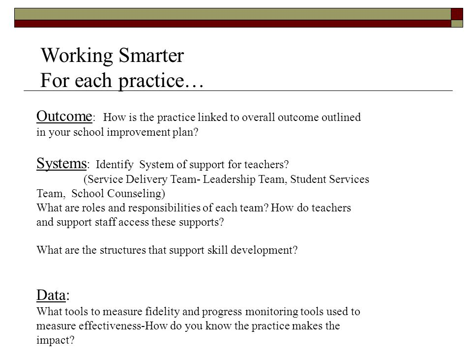 Working Smarter For each practice…