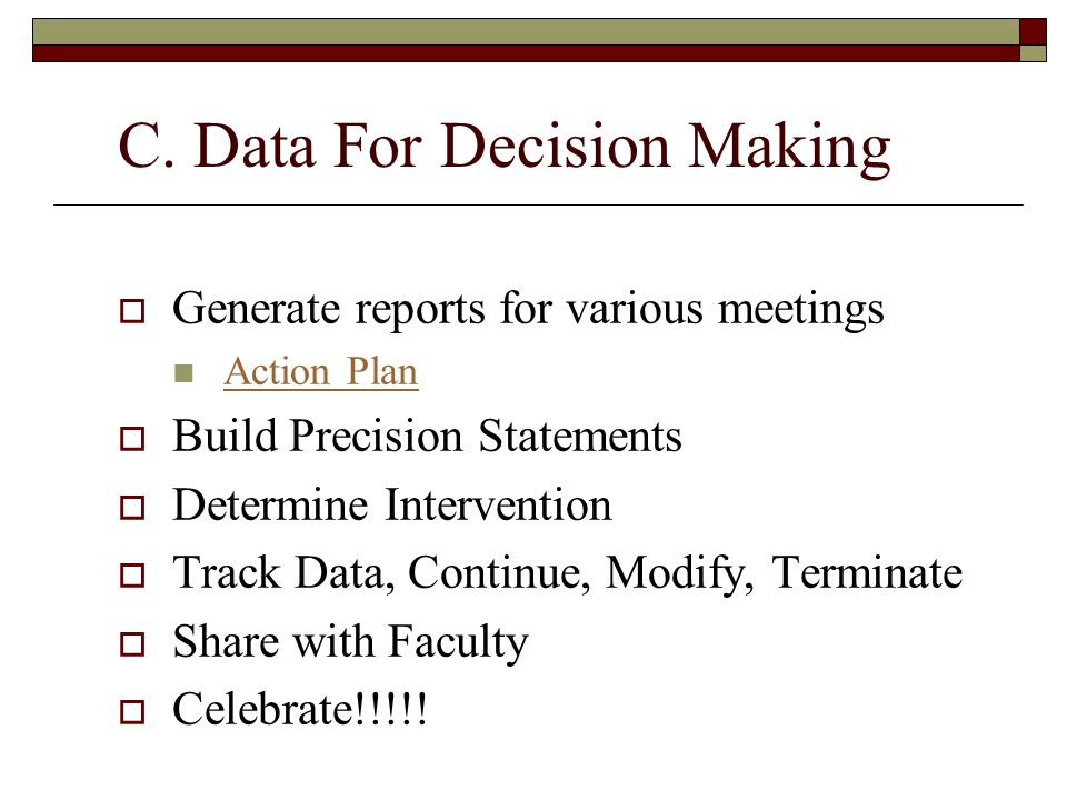 C. Data For Decision Making