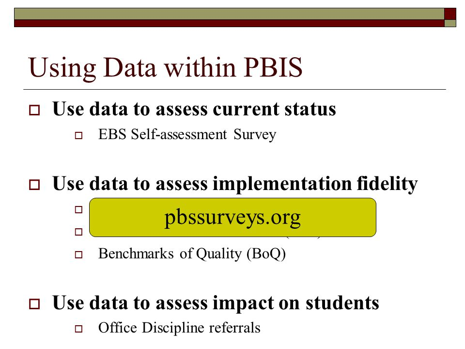 Using Data within PBIS pbssurveys.org