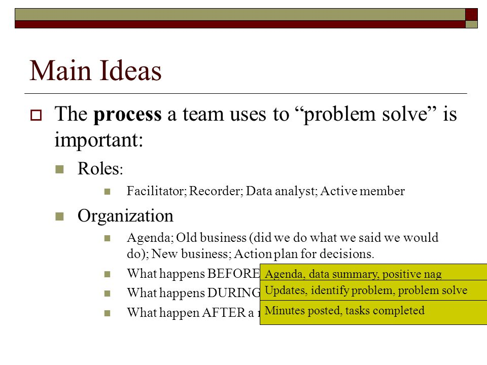 Main Ideas The process a team uses to problem solve is important: