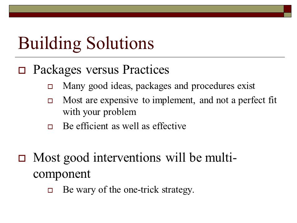 Building Solutions Packages versus Practices