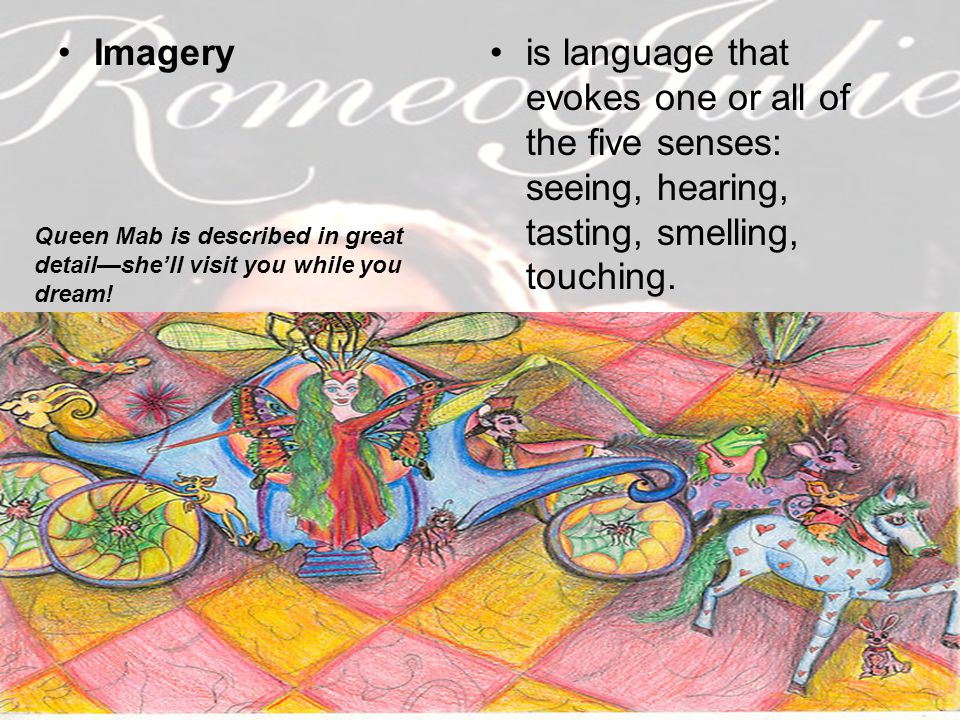 Imagery is language that evokes one or all of the five senses: seeing, hearing, tasting, smelling, touching.