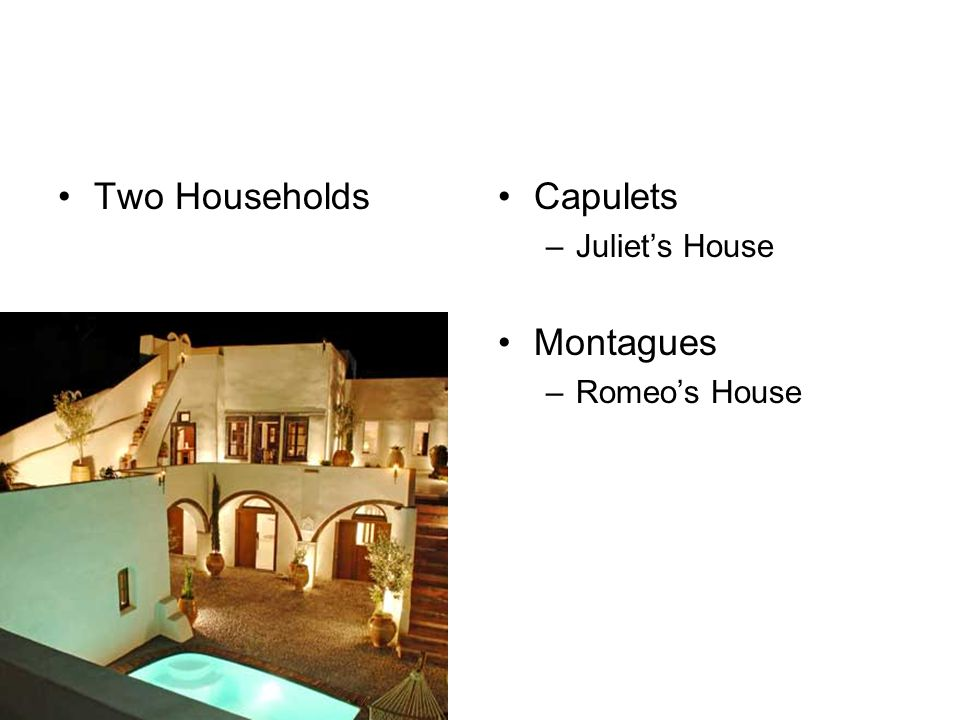 Two Households Capulets Juliet's House Montagues Romeo's House