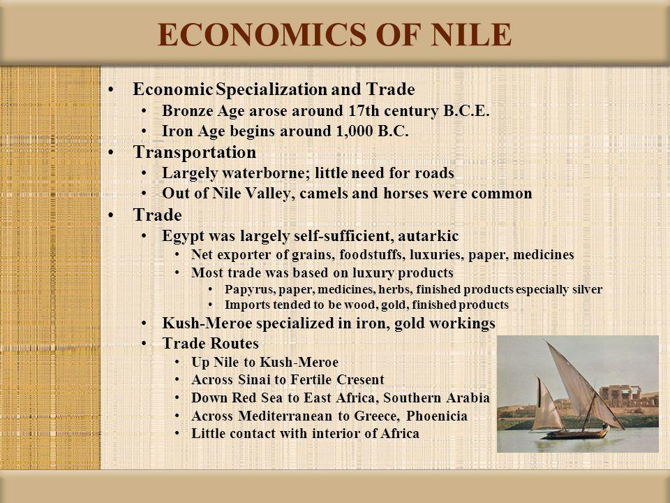 ECONOMICS OF NILE Economic Specialization and Trade Transportation