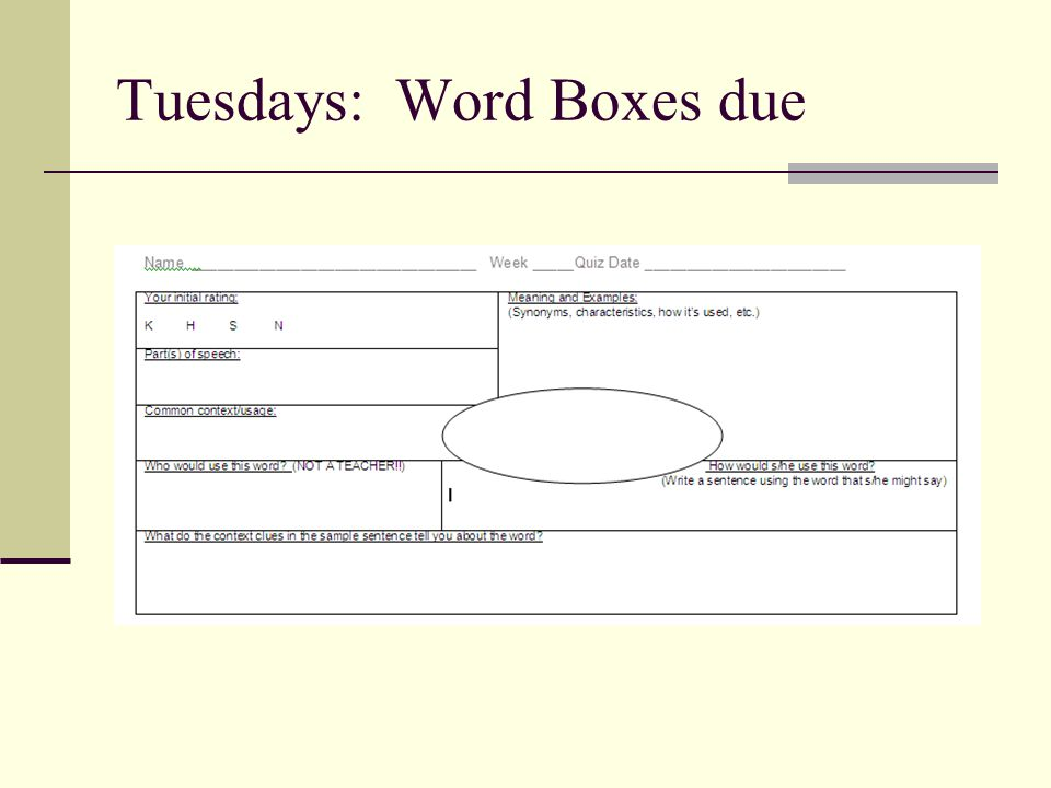 Tuesdays: Word Boxes due