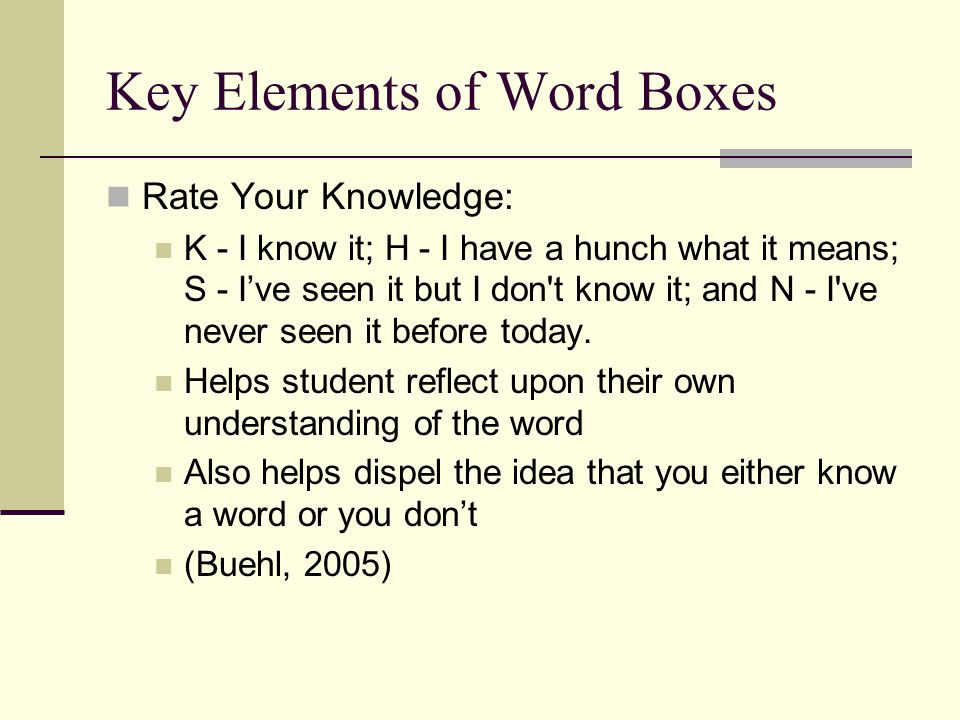 Key Elements of Word Boxes