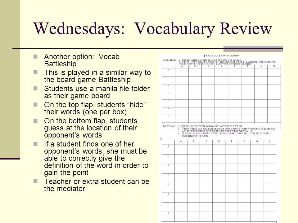 Wednesdays: Vocabulary Review