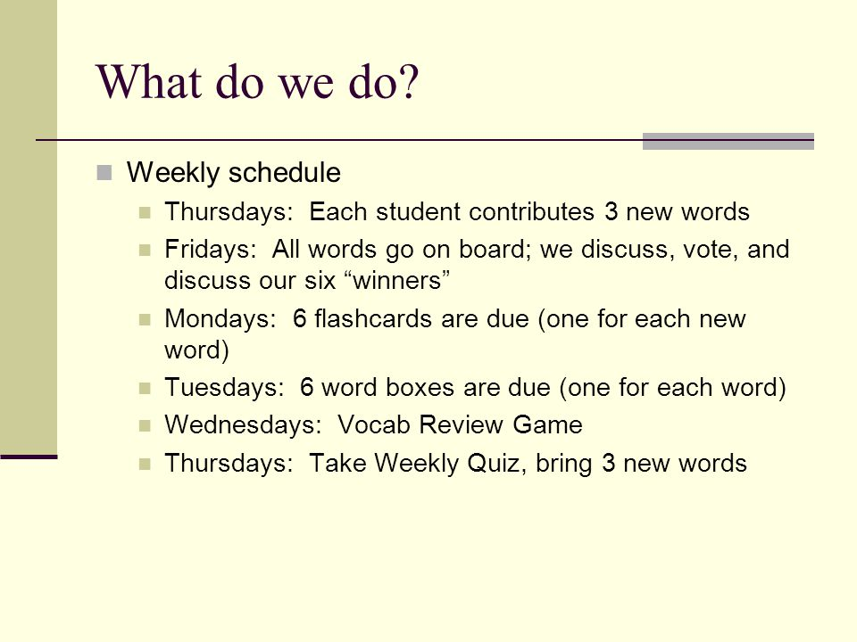 What do we do Weekly schedule