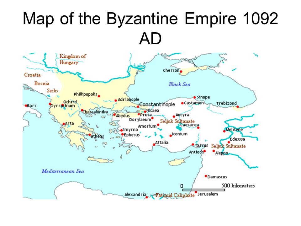Map of the Byzantine Empire 1092 AD