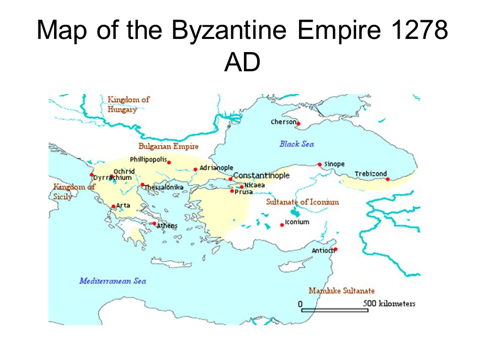 Map of the Byzantine Empire 1278 AD