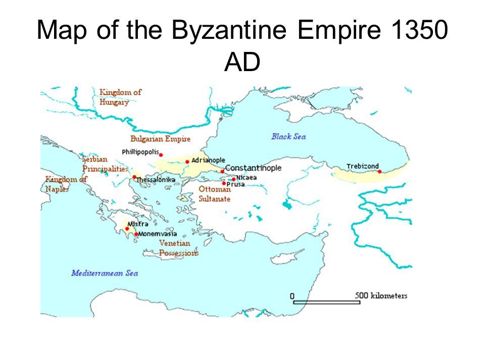 Map of the Byzantine Empire 1350 AD